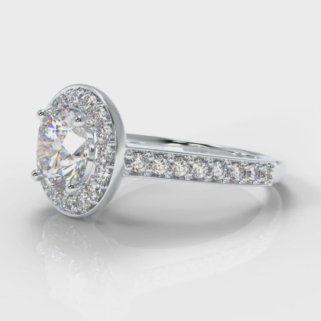 Pavé Round Brilliant Diamond Halo Engagement Ring