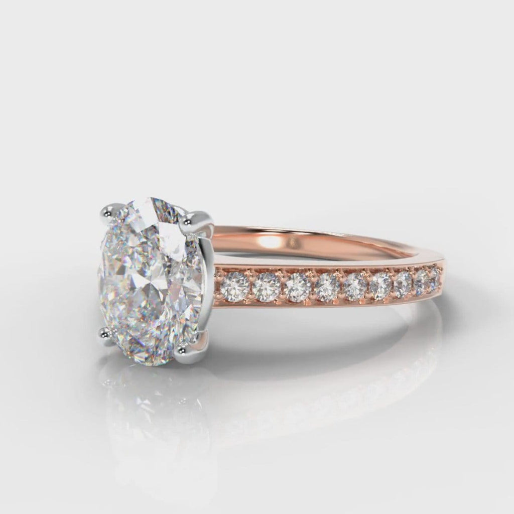 Pavé Oval Diamond Engagement Ring - Rose Gold
