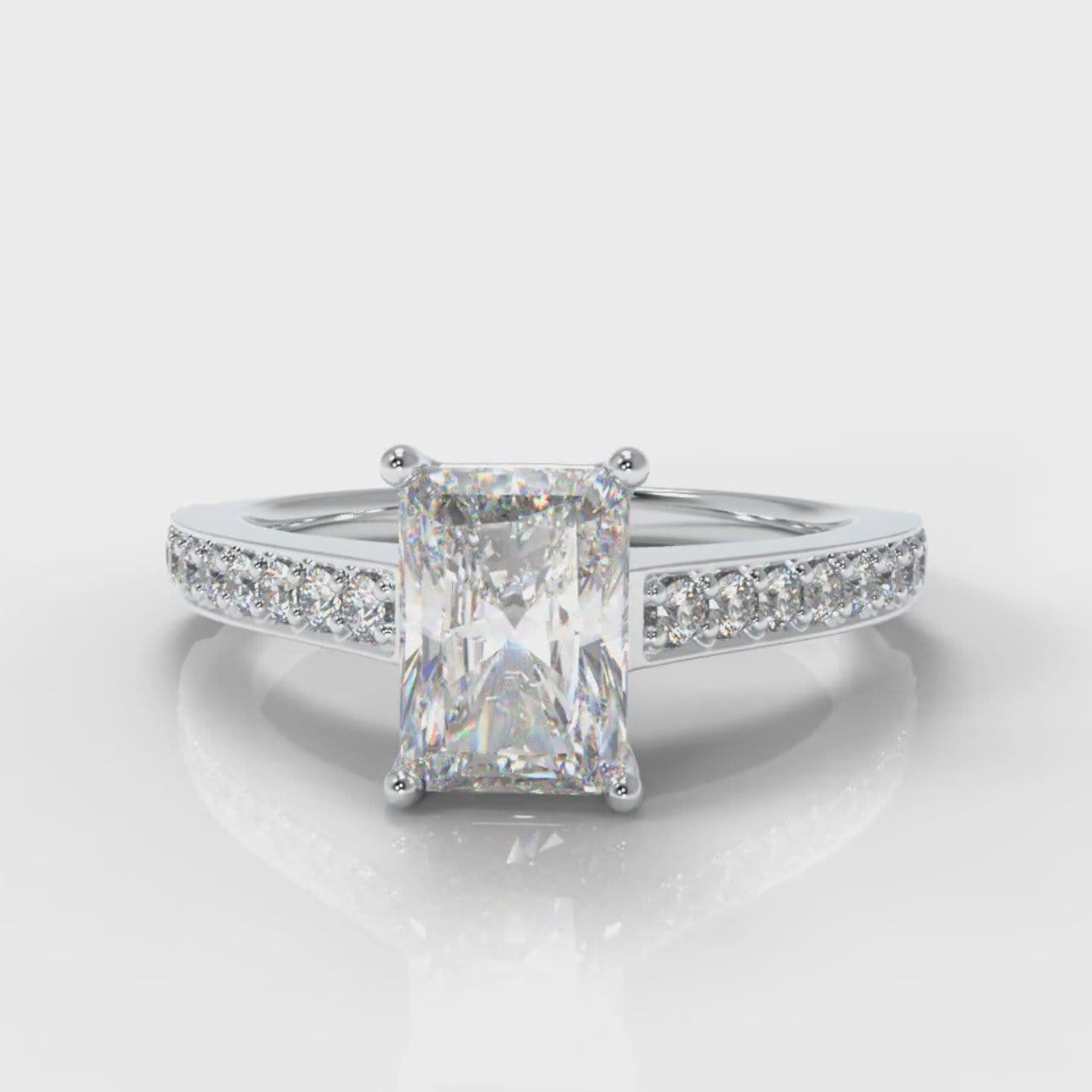 Pavé Radiant Cut Diamond Engagement Ring