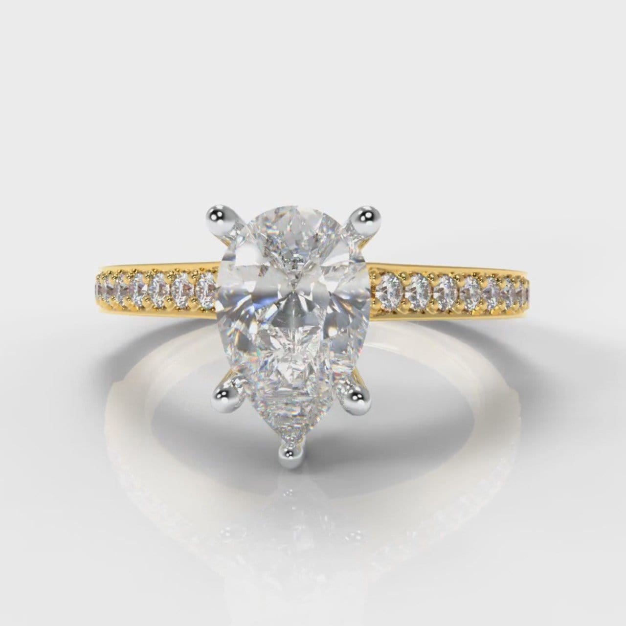 Pavé Pear Diamond Engagement Ring - Yellow Gold