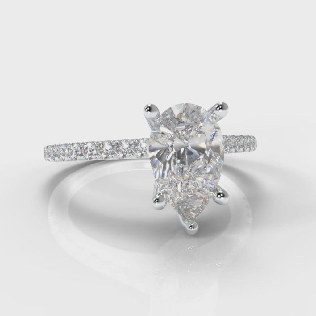 Petite Micropavé Pear Diamond Engagement Ring