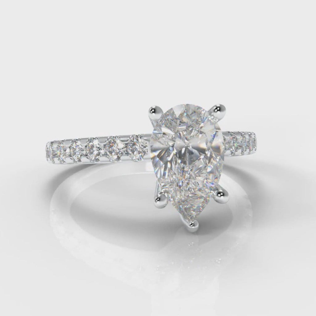 Micropavé Pear Diamond Engagement Ring
