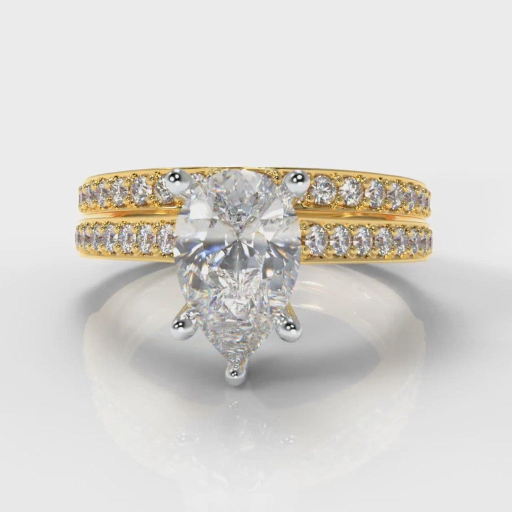 Pavé Pear Diamond Bridal Set - Yellow Gold