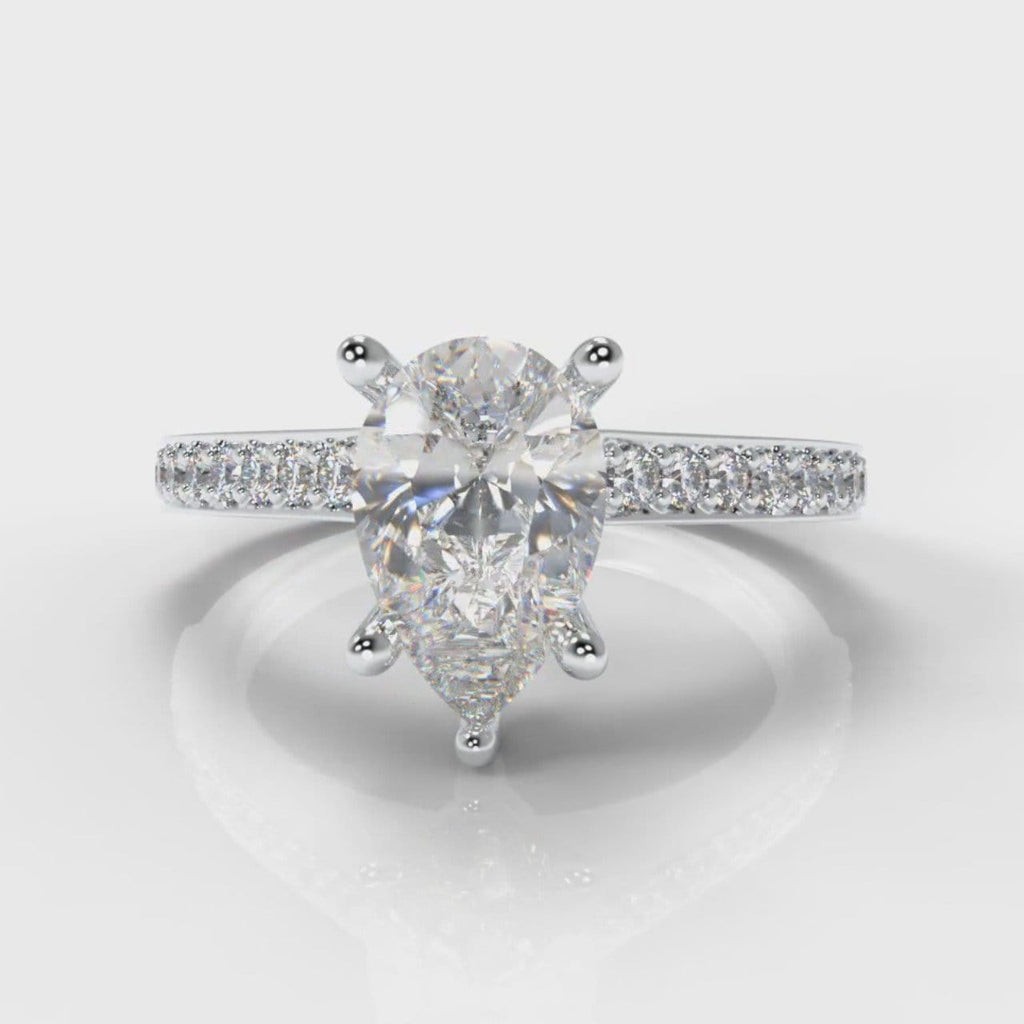 Pavé Pear Diamond Engagement Ring