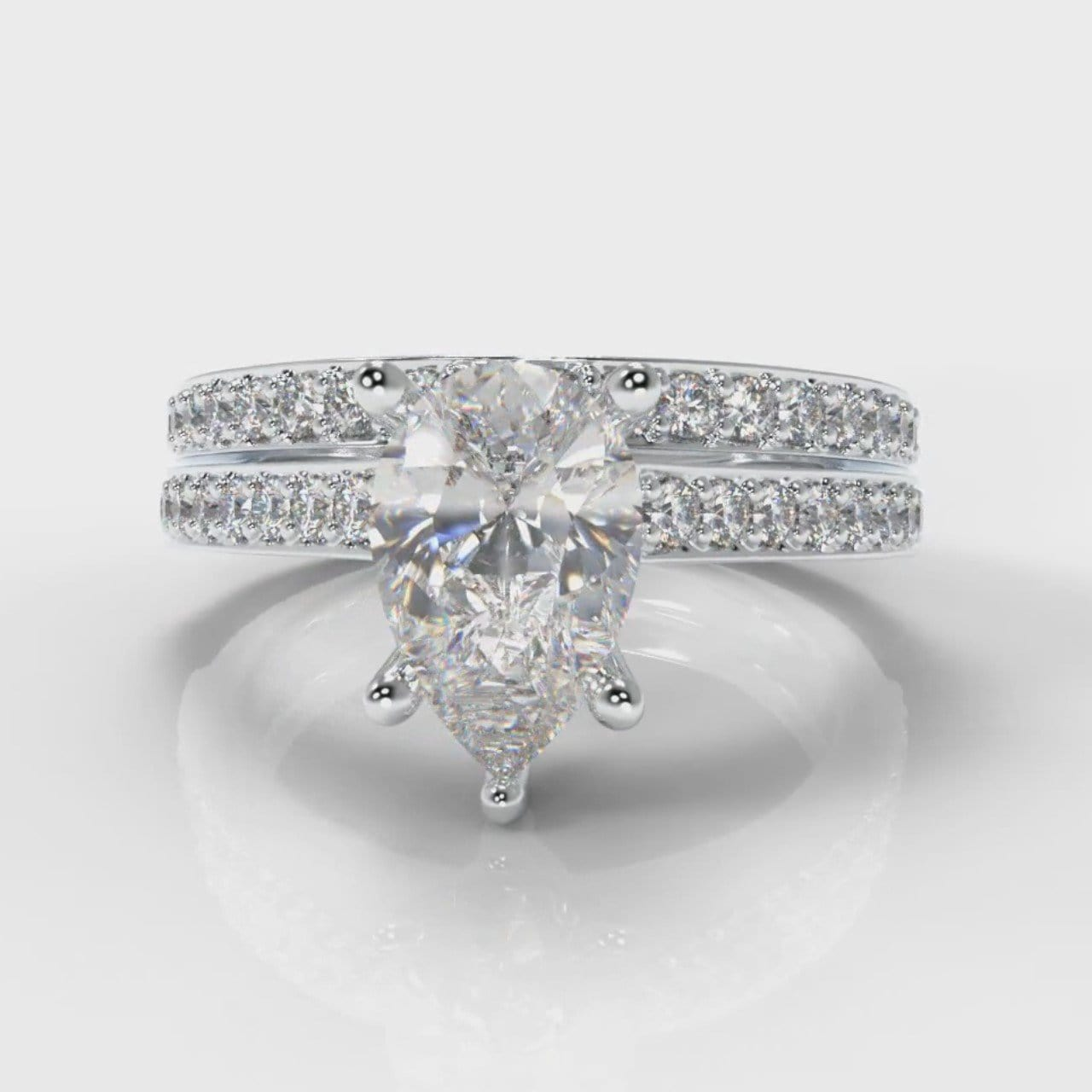 Pavé Pear Diamond Bridal Set