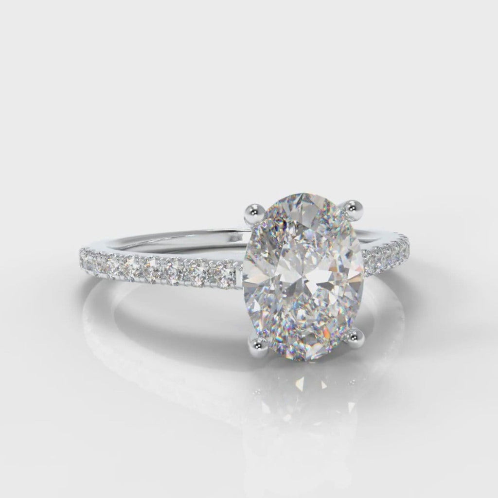 Petite Micropavé Oval Diamond Engagement Ring
