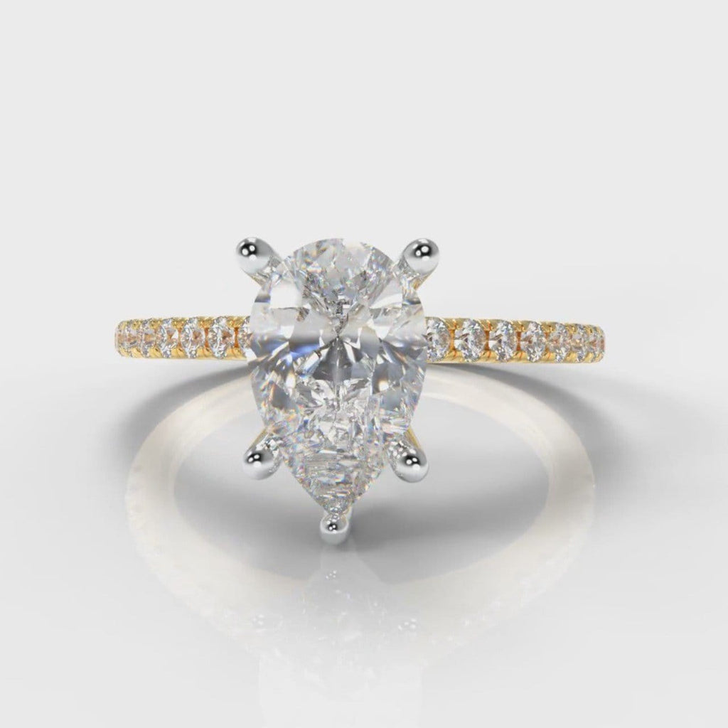Petite Micropavé Pear Diamond Engagement Ring - Yellow Gold