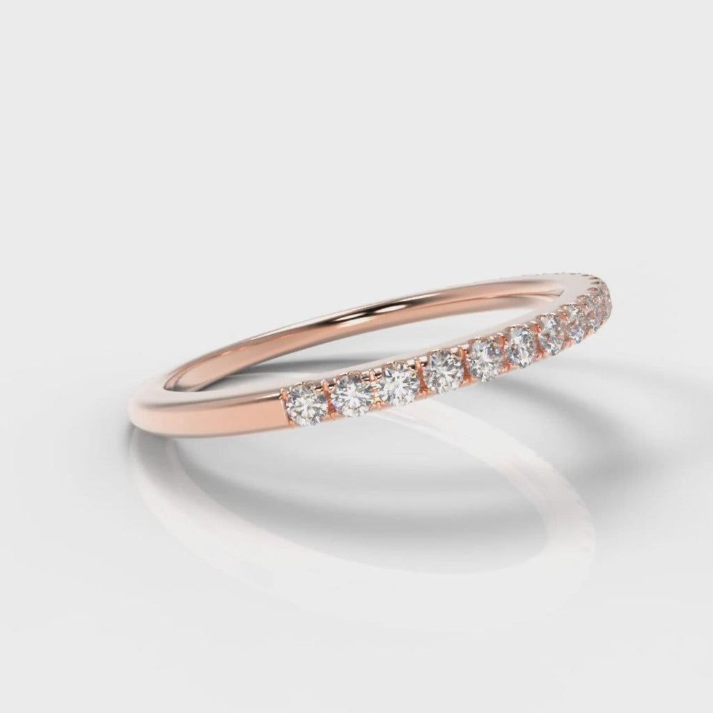 Petite Micropavé Diamond Wedding Ring - Rose Gold