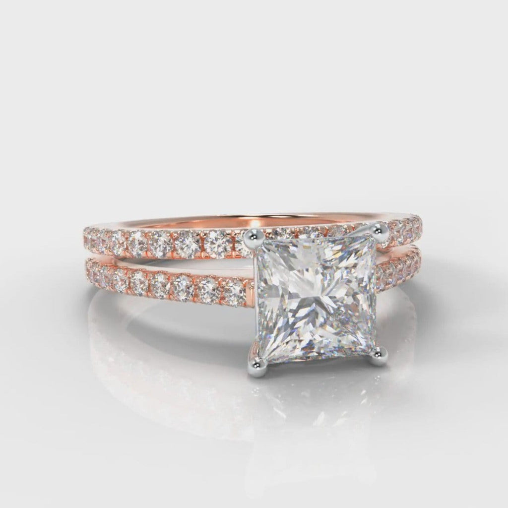Petite Micropavé Princess Cut Diamond Bridal Set - Rose Gold