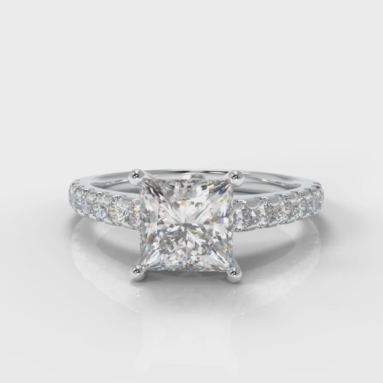 Carrée Micropavé Princess Cut Diamond Engagement Ring