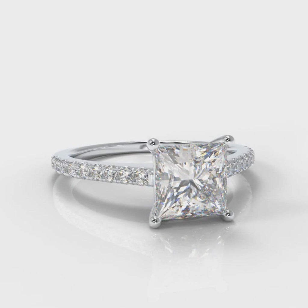 Petite Micropavé Princess Cut Diamond Engagement Ring