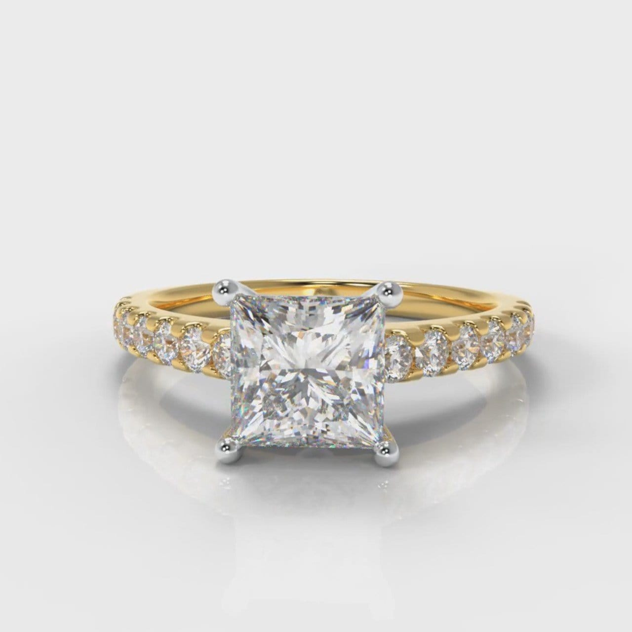 Carrée Micropavé Princess Cut Diamond Engagement Ring - Yellow Gold