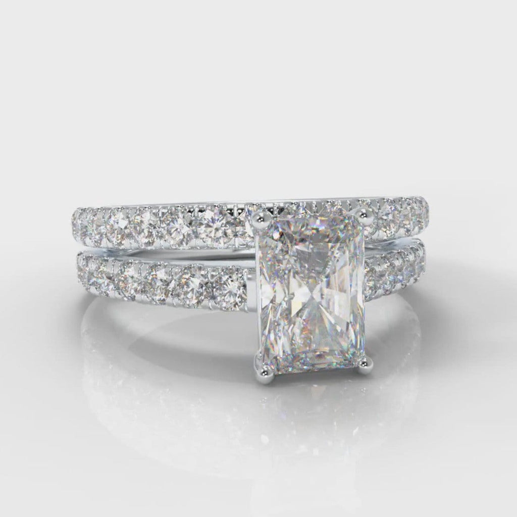 Carrée Micropavé Radiant Cut Diamond Bridal Set