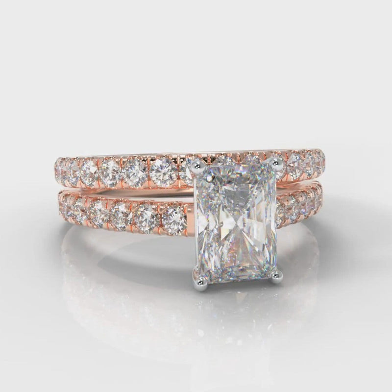 Carrée Micropavé Radiant Cut Diamond Bridal Set - Rose Gold