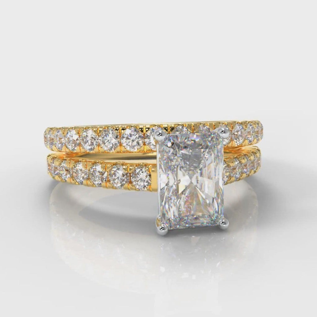 Carrée Micropavé Radiant Cut Diamond Bridal Set - Yellow Gold