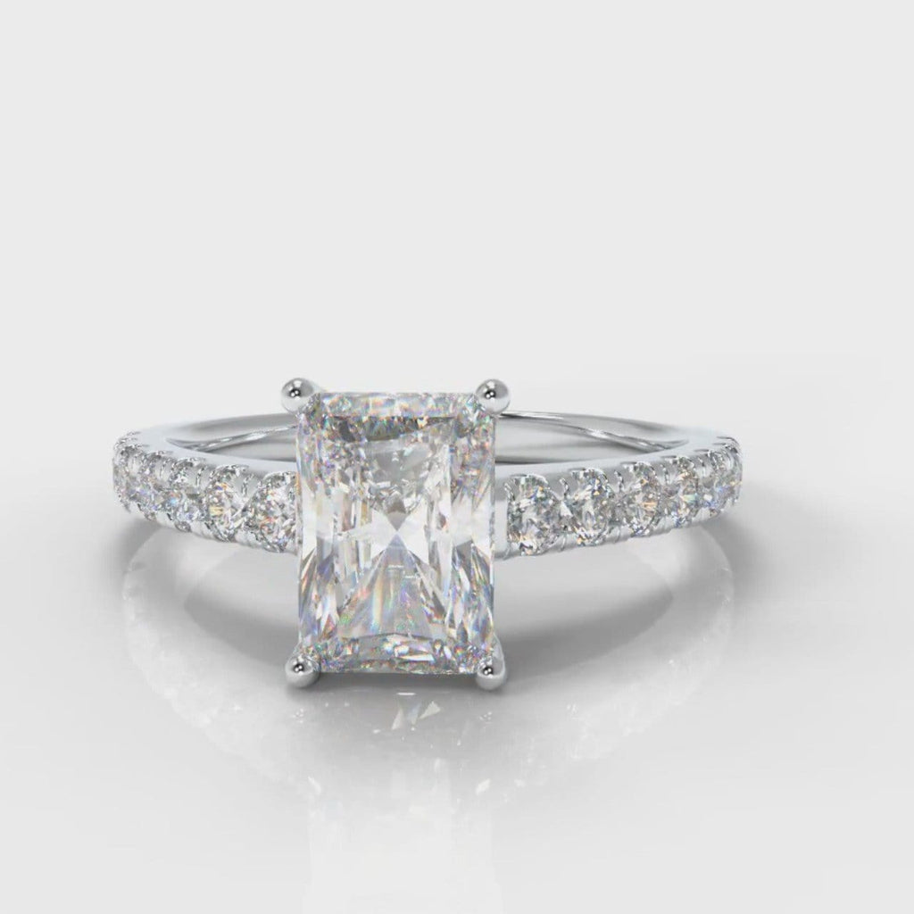 Carrée Micropavé Radiant Cut Diamond Engagement Ring