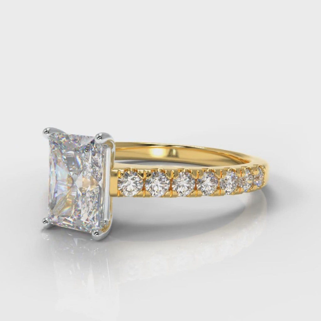 Carrée Micropavé Radiant Cut Diamond Engagement Ring - Yellow Gold
