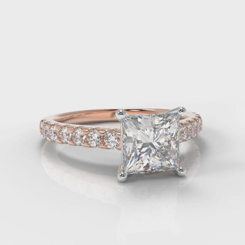 Carrée Micropavé Princess Cut Diamond Engagement Ring - Rose Gold