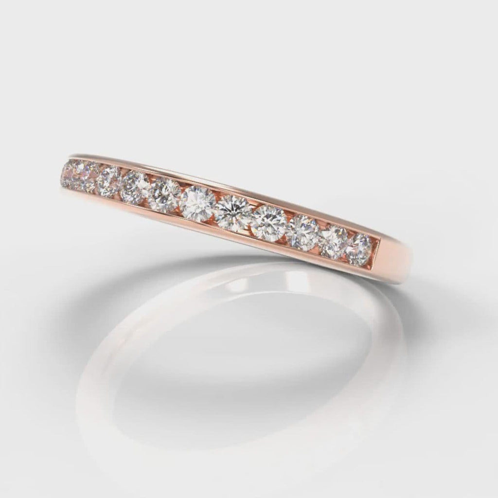 Channel Set Diamond Wedding Ring - Rose Gold