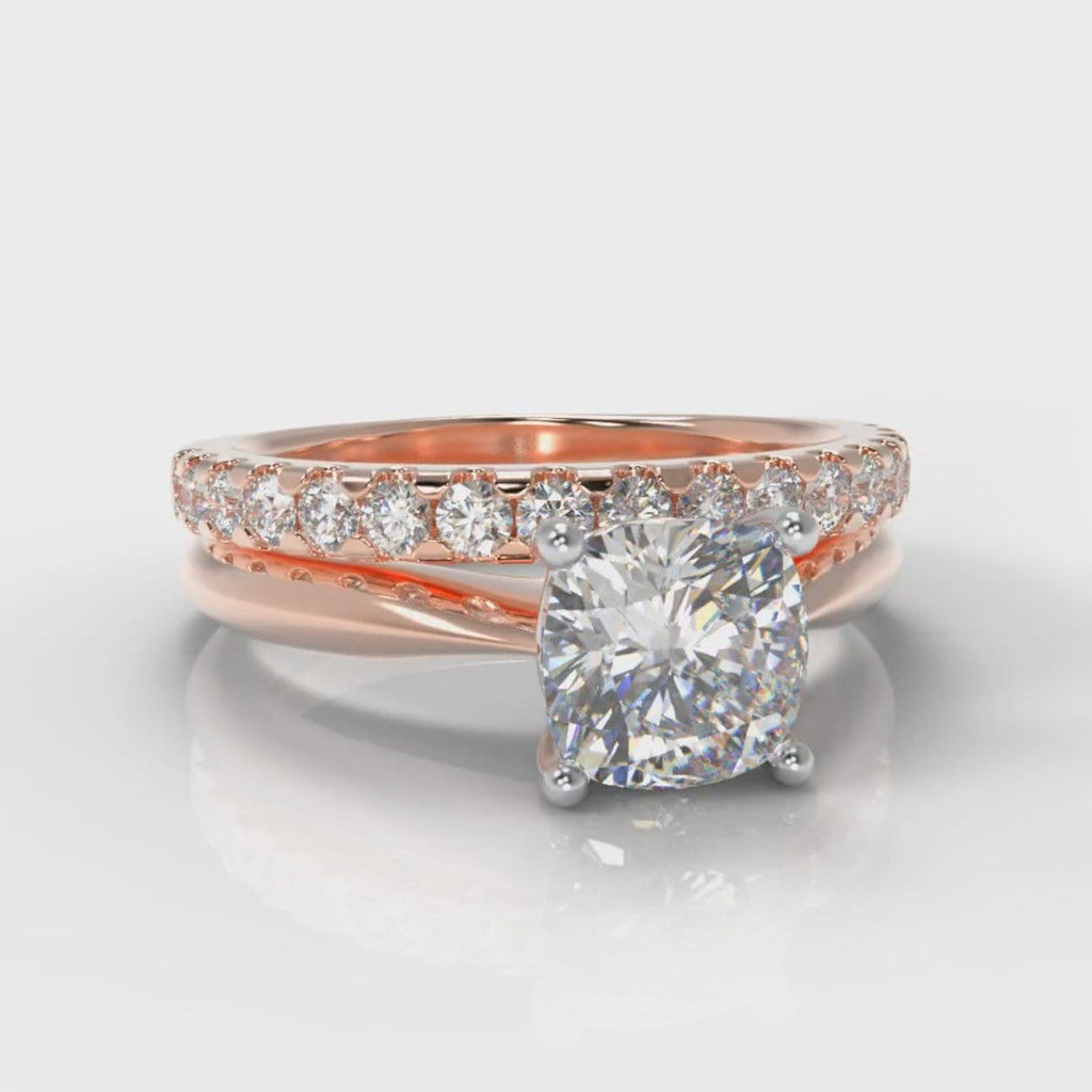 Carrée Solitaire Cushion Cut Diamond Bridal Set - Rose Gold