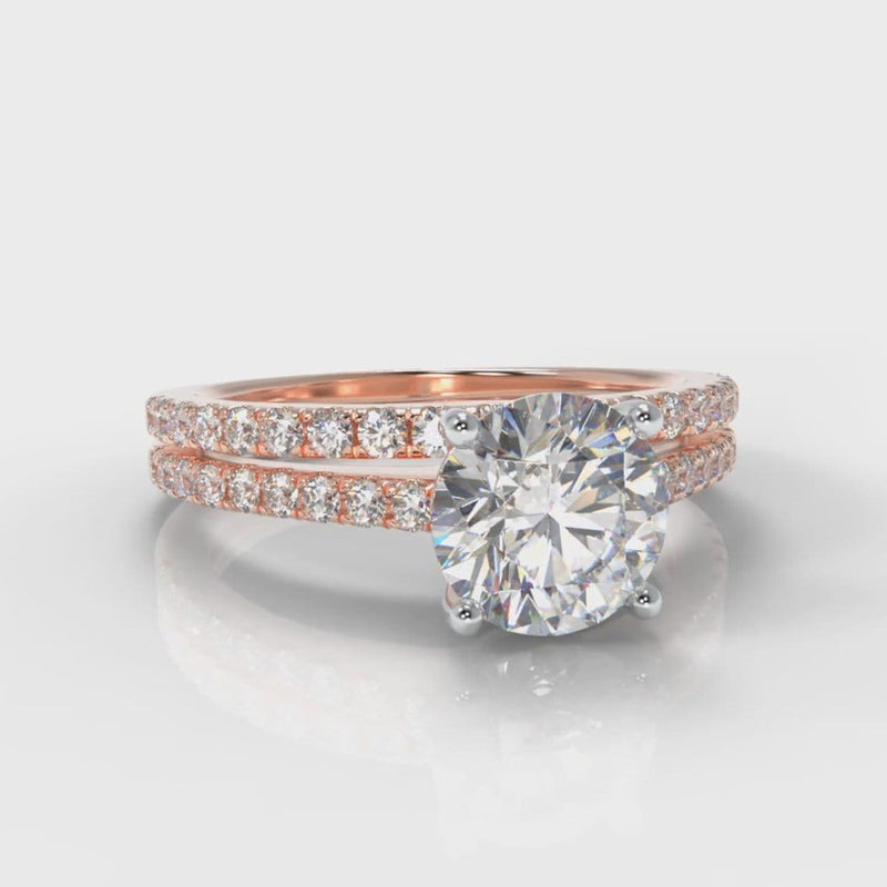 Petite Micropavé Round Brilliant Cut Diamond Bridal Set - Rose Gold