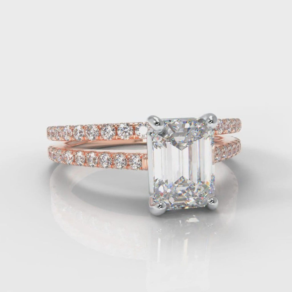 Petite Micropavé Emerald Cut Diamond Bridal Set - Rose Gold