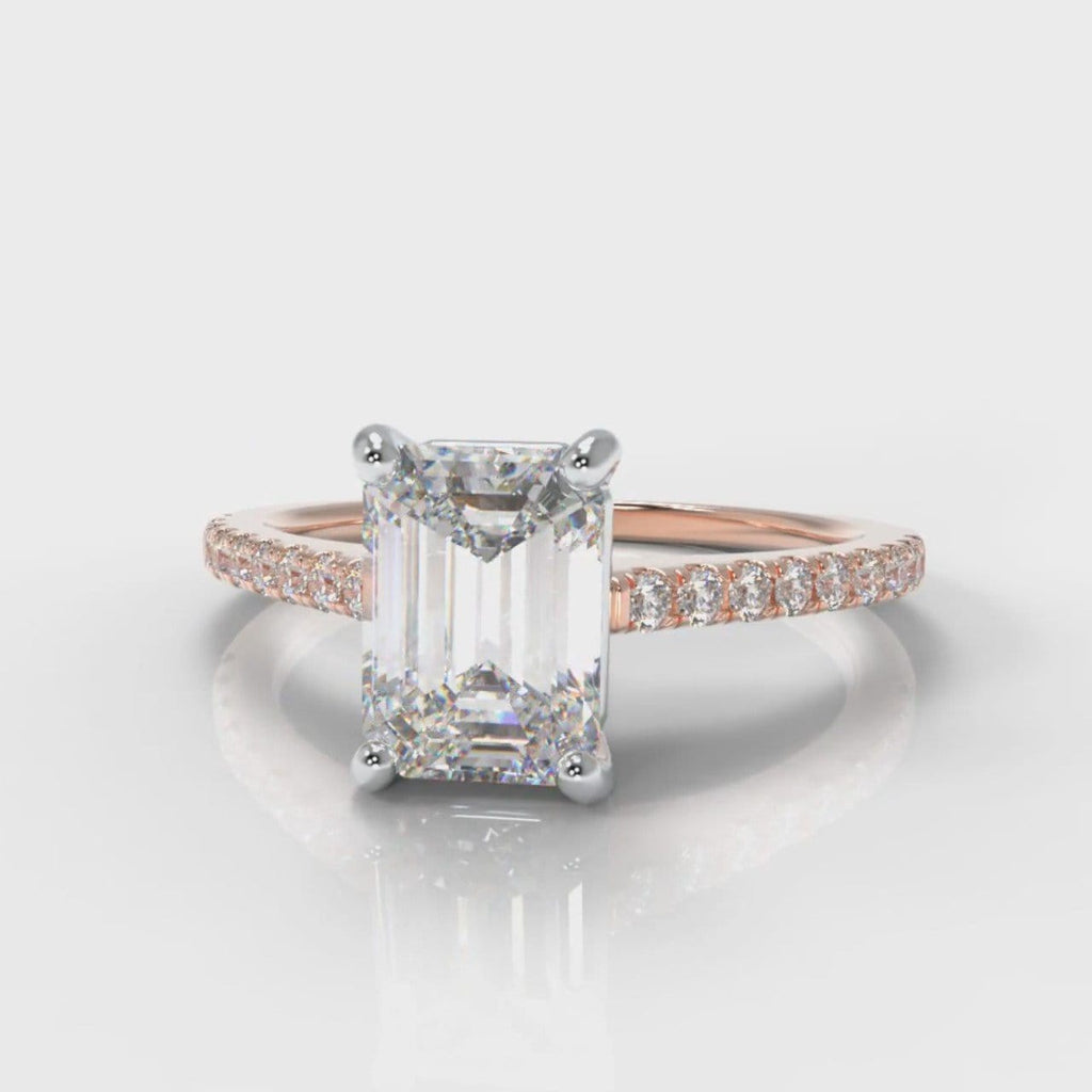 Petite Micropavé Emerald Cut Diamond Engagement Ring - Rose Gold