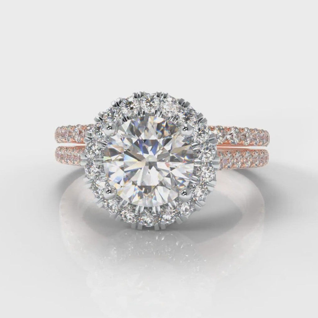 Petite Micropavé Round Brilliant Cut Diamond Halo Bridal Set - Two Tone Rose Gold
