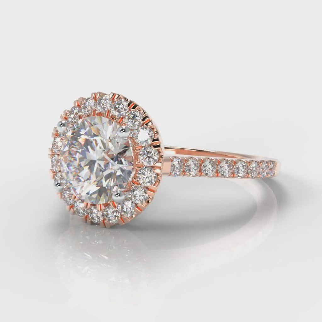 Petite Micropavé Round Brilliant Cut Diamond Halo Engagement Ring - Rose Gold