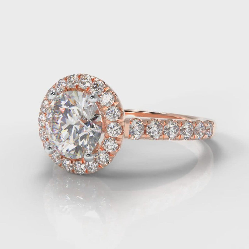 Micropavé Round Brilliant Cut Diamond Halo Engagement Ring - Rose Gold