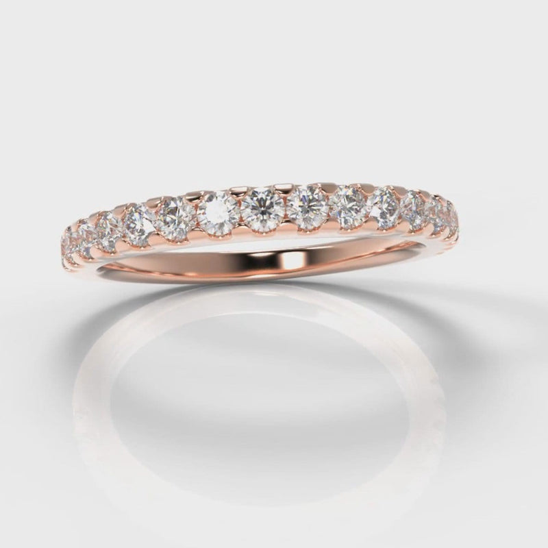 Micropavé Diamond Wedding Ring - Rose Gold