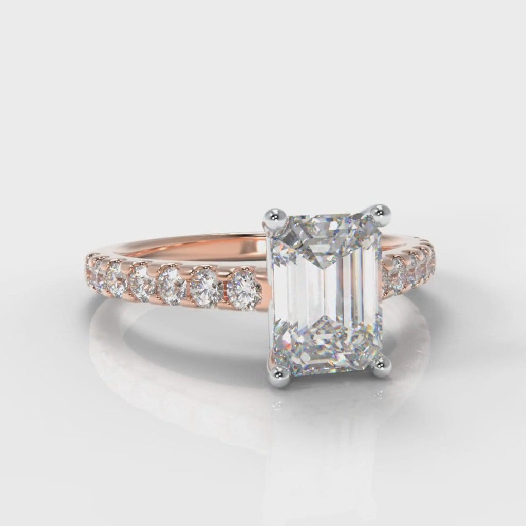 Carrée Micropavé Emerald Cut Diamond Engagement  Ring - Rose Gold
