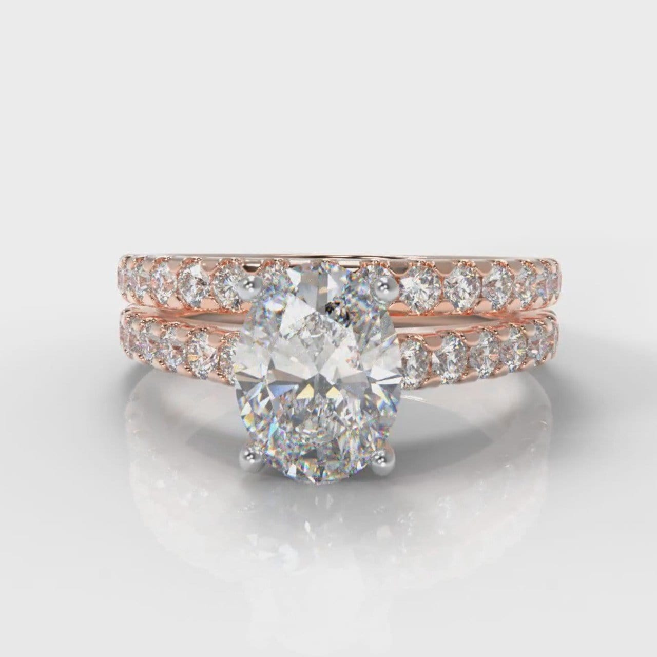Carrée Micropavé Oval Diamond Bridal Set - Rose Gold