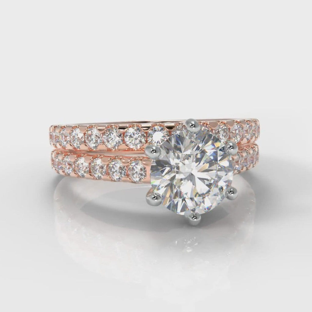 Star Micropavé Round Brilliant Bridal Set - Rose Gold