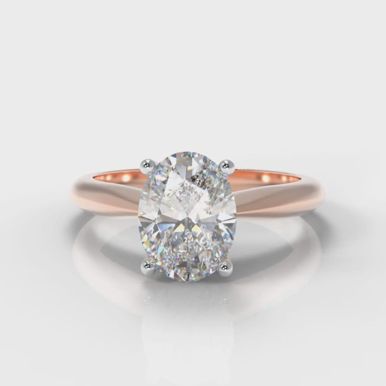 Carrée Solitaire Oval Diamond Engagement Ring - Rose Gold