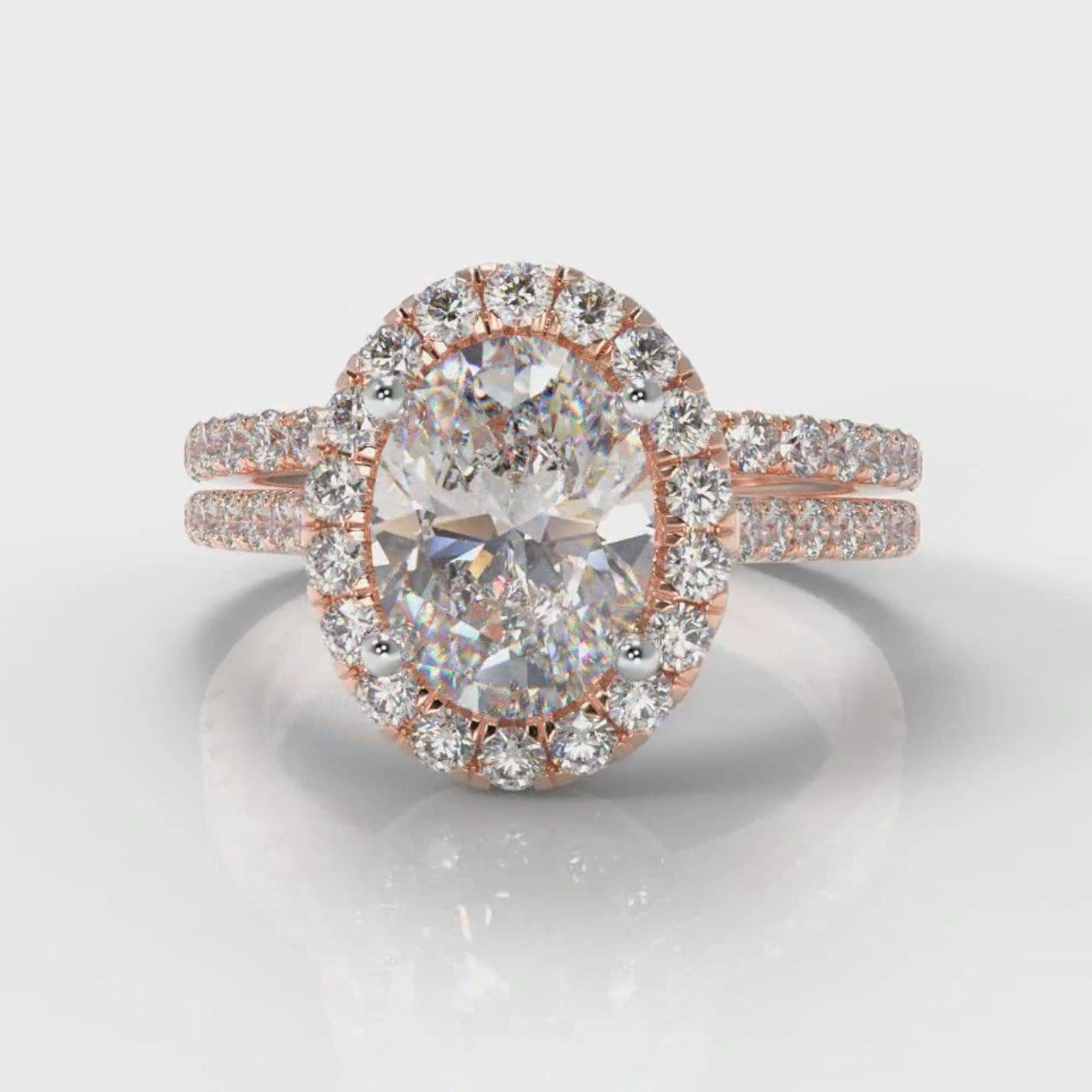 Petite Micropavé Oval Diamond Halo Bridal Set - Rose Gold