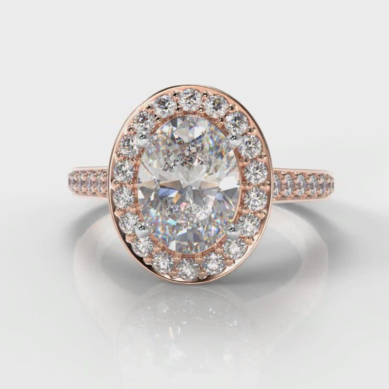 Pavé Oval Diamond Halo Engagement Ring - Rose Gold