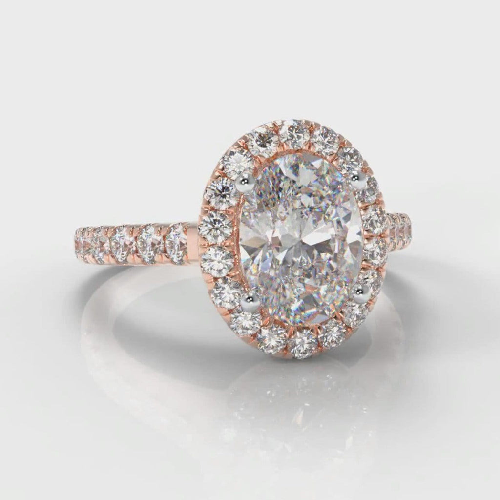 Micropavé Oval Diamond Halo Engagement Ring - Rose Gold