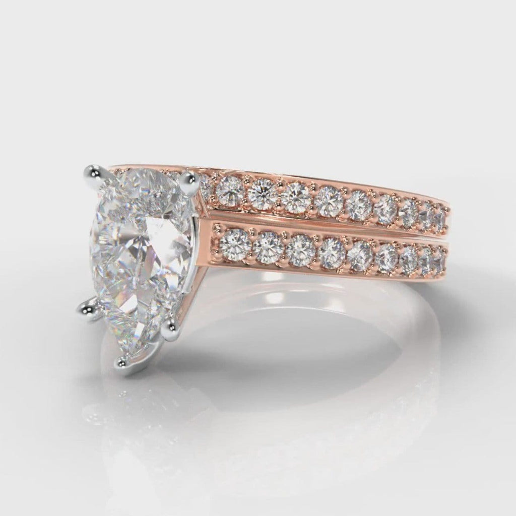 Pavé Pear Diamond Bridal Set - Rose Gold
