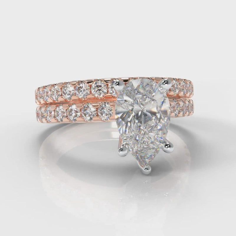 Micropavé Pear Diamond Bridal Set - Rose Gold