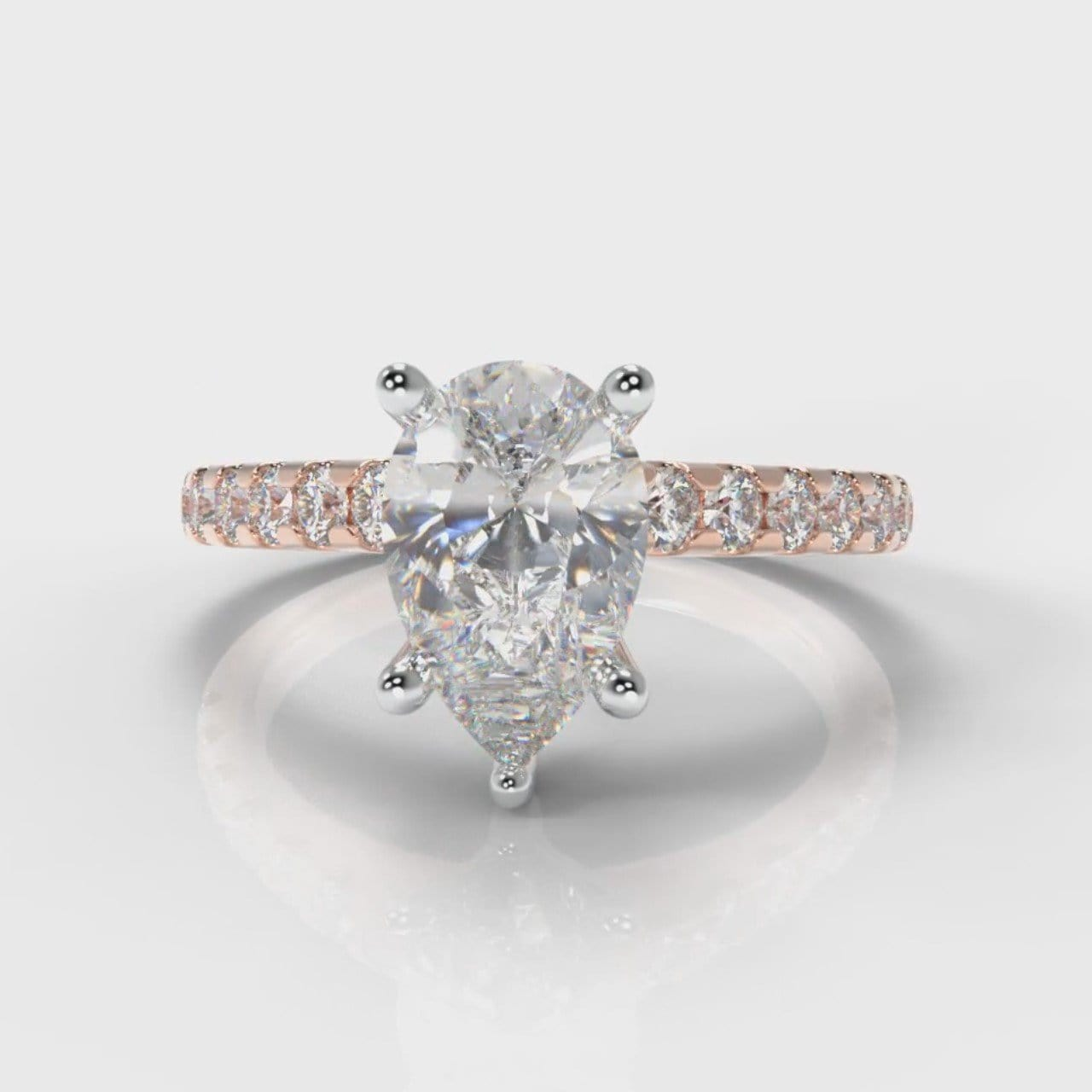 Micropavé Pear Diamond Engagement Ring - Rose Gold