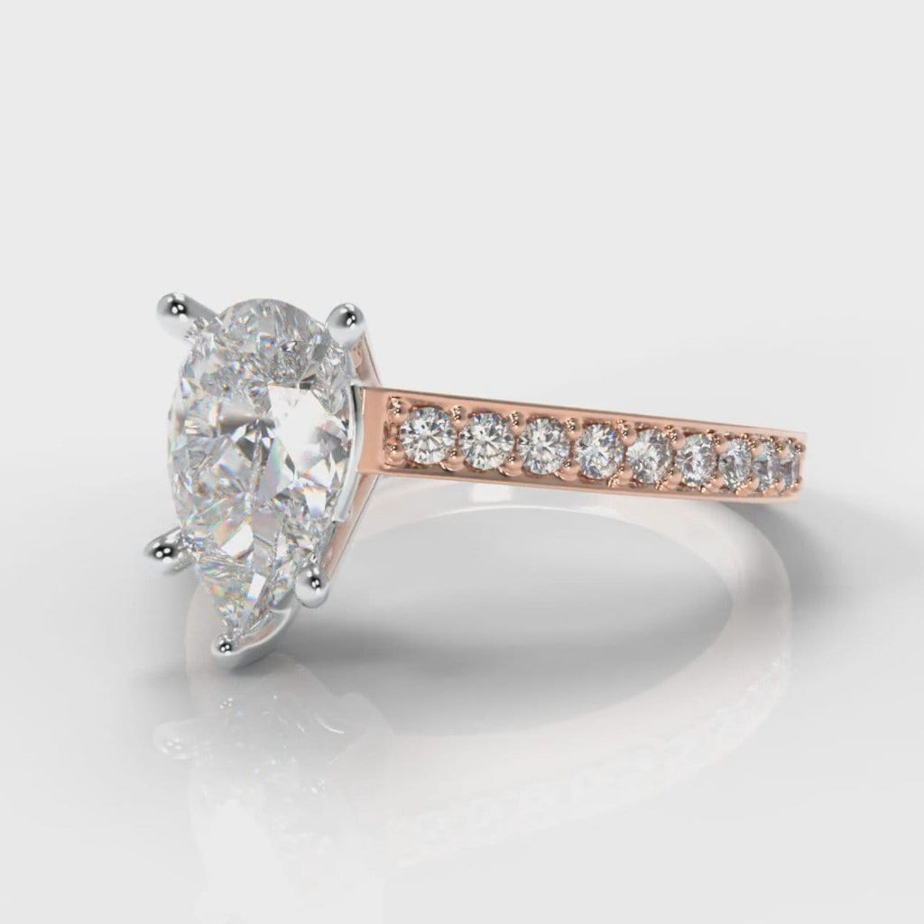 Pavé Pear Diamond Engagement Ring - Rose Gold