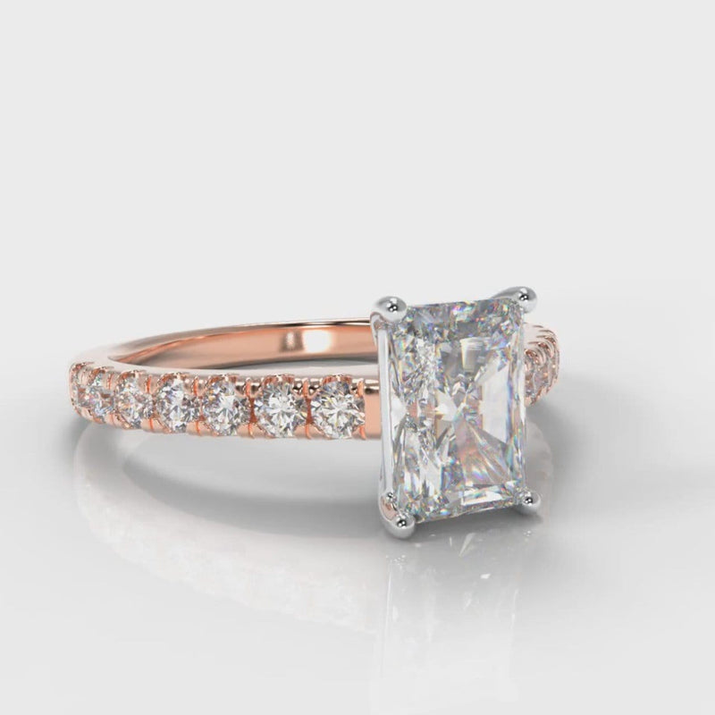 Carrée Micropavé Radiant Cut Diamond Engagement Ring - Rose Gold