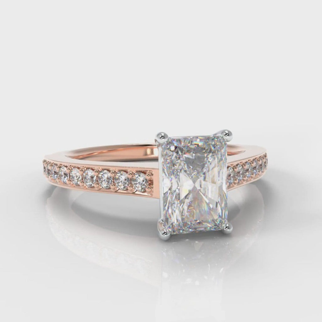 Pavé Radiant Cut Diamond Engagement Ring - Rose Gold