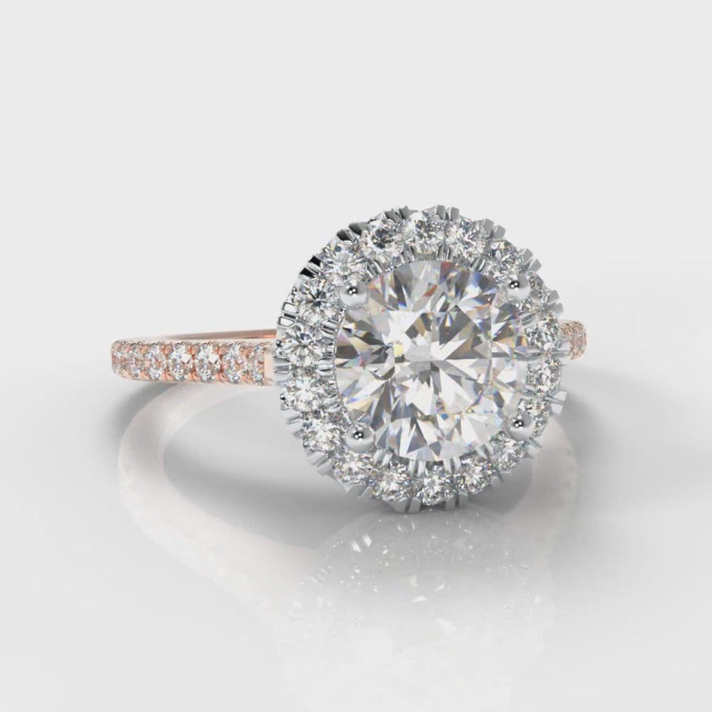 Petite Micropavé Round Brilliant Cut Diamond Halo Engagement Ring - Two Tone Rose Gold