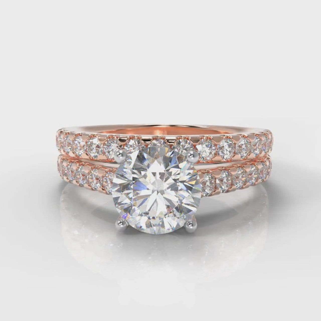Carrée Micropavé Round Brilliant Bridal Set - Rose Gold