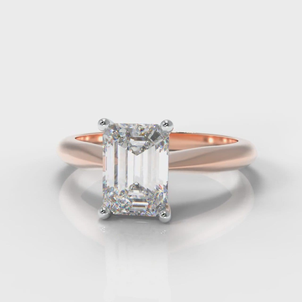 Carrée Solitaire Emerald Cut Diamond Engagement Ring - Rose Gold