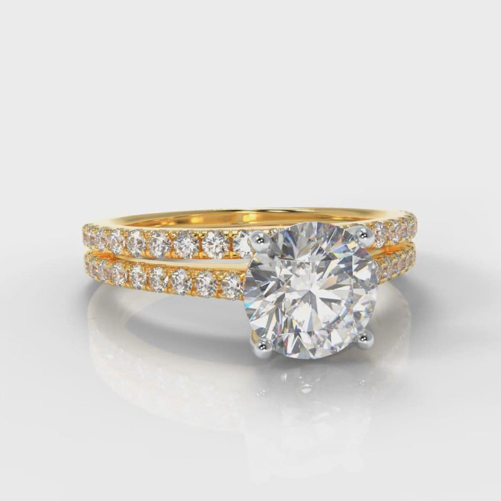 Petite Micropavé Round Brilliant Cut Diamond Bridal Set - Yellow Gold