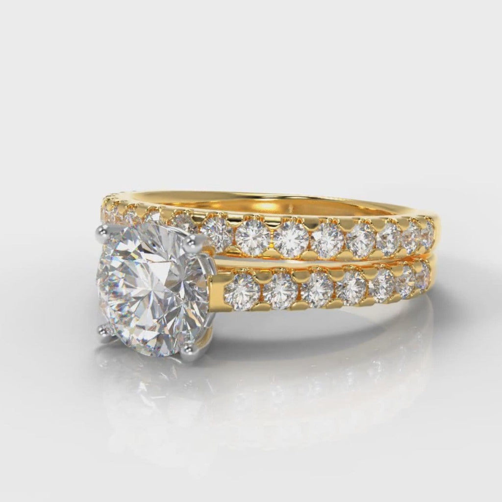 Carrée Micropavé Round Brilliant Bridal Set - Yellow Gold