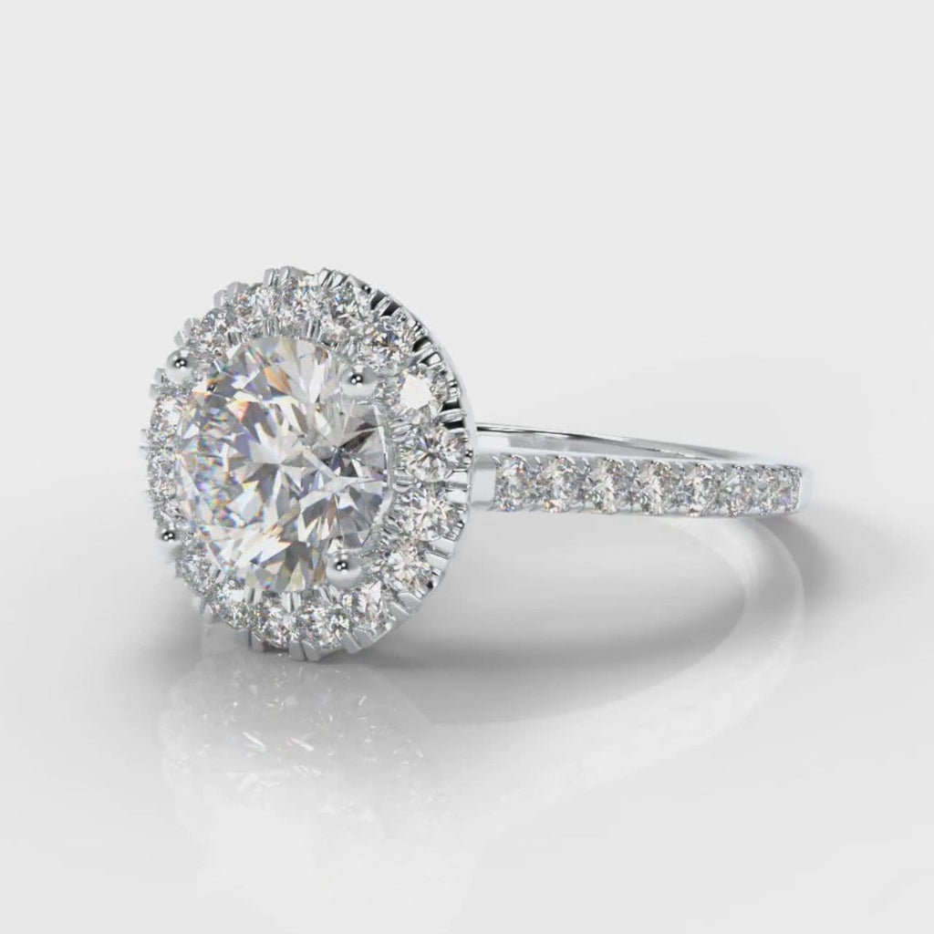 Petite Micropavé Round Brilliant Cut Diamond Halo Engagement Ring